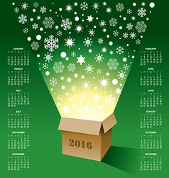 2016 Christmas Box Calendar vector image