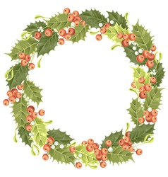 Holly berry wreath vector