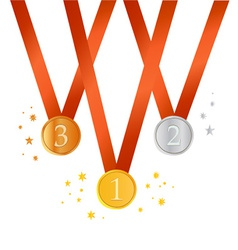 Set of gold medals vector