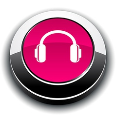 Headphones 3d round button vector