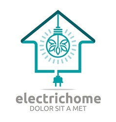 Logo electric home light energy bright symbol vector