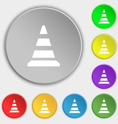 Road cone icon symbols on eight flat buttons vector