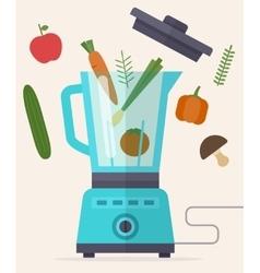Food processor mixer blender and vegetables vector