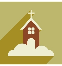 Flat icon with long shadow christmas church vector