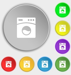Washing machine icon sign symbol on eight flat vector