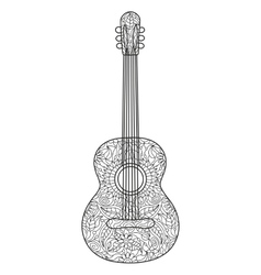 Acoustic guitar coloring book for adults vector