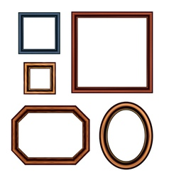 Set of vintage brown picture frames vector
