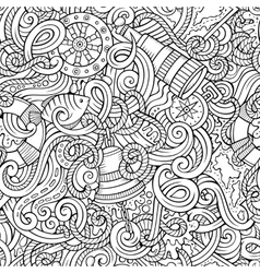 Cartoon hand-drawn nautical doodles seamless vector