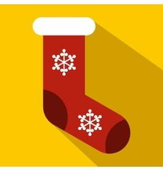 Red christmas sock icon flat style vector