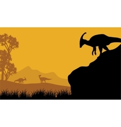 At the morning parasaurolophus silhouette in hills vector