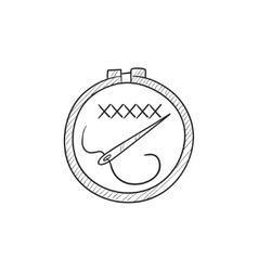Embroidery sketch icon vector image