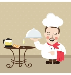 Chef at restaurant present his food dish vector