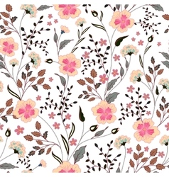 Cute little pink flowers seamless pattern vector