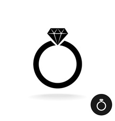 Wedding engagement ring simple black icon with vector