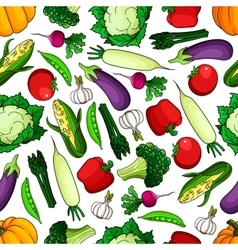 Ripe and healthy farm vegetables seamless pattern vector