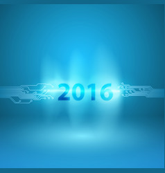 Abstract blue background with 2016 in current arc vector