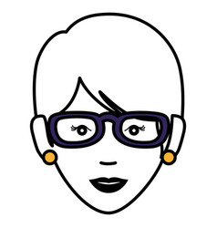 Beautiful and young woman with glasses character vector