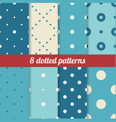 Blue dotted patterns vector