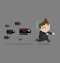 businessman running away from debt vector image vector image