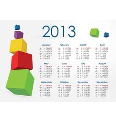 Calendar2013-cubes vector image vector image