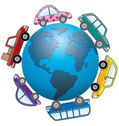 cars around earth globe vector image
