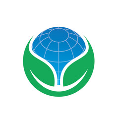 Circle leaf globe ecology logo image vector