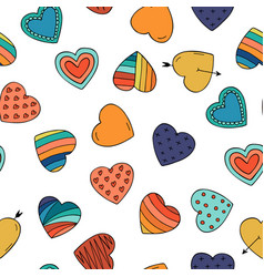 colorful hearts - seamless hand drawn pattern vector image vector image