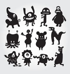 cute monsters cartoon characters set vector image