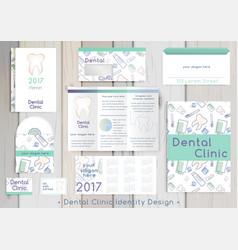 Dental clinic corporate identity template vector