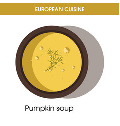 european cuisine pumpkin soup traditional dish vector image vector image