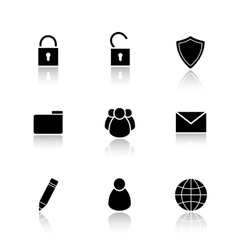 File manager drop shadow icons set vector