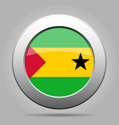 Flag of sao tome and principe metal round button vector