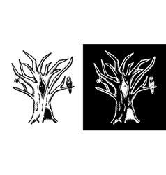 Hand drawn doodle halloween tree black and white vector