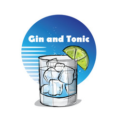 Hand drawn of cocktail gin and tonic vector