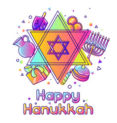 happy hanukkah greeting card with holiday objects vector image
