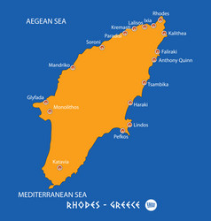 Island of rhodes in greece orange map and blue vector