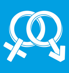 Male and female signs icon white vector