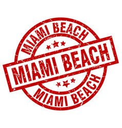Miami beach red round grunge stamp vector