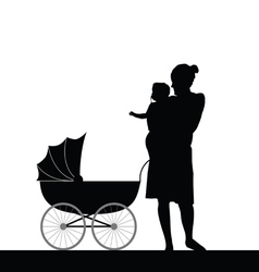 Mother holding baby with carriage silhouette vector