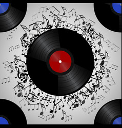 Seamless texture with a vinyl record and music vector
