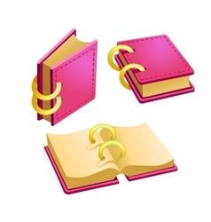 Set of cartoon pink book vector image vector image