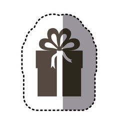 Sticker monochrome gift box with ribbon wrapping vector