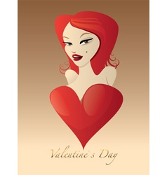 Sweet valentines girl vector image