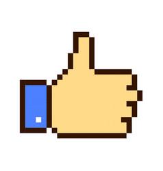 Thumb up pixel art cartoon retro game style vector