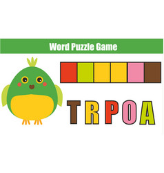 Words puzzle children educational game with vector