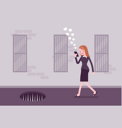 Young carefree woman walking with phone pit full vector