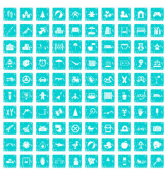 100 childhood icons set grunge blue vector