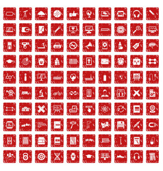 100 training icons set grunge red vector