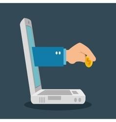 Monitor pc e-commerce shop online design vector