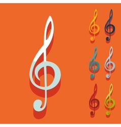 Flat design treble clef vector